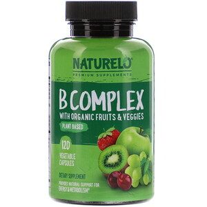 NATURELO, B Complex with Organic Fruits & Veggies, 120 Vegetable Capsules