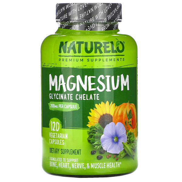 NATURELO, Magnesium Glycinate Chelate, 200 mg, 120 Vegetarian Capsules