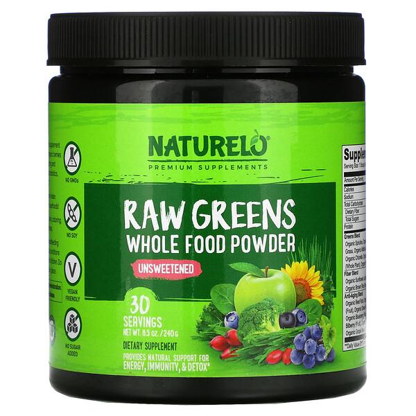 Raw Greens, Whole Food Powder, Unsweetened, 8.5 oz (240 g)