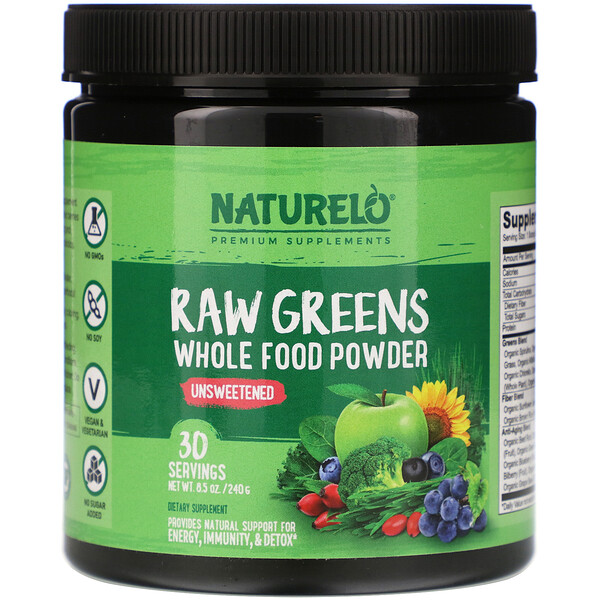 NATURELO, Raw Greens, Whole Food Powder, Unsweetened, 8.5 oz (240 g)