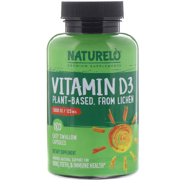 Vitamin D3, Plant Based, 5000 IU/125 mcg, 180 Easy Swallow Capsules