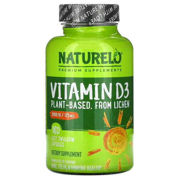 Vitamin D3, Plant Based, 125 mcg (5000 IU), 180 Easy Swallow Capsules