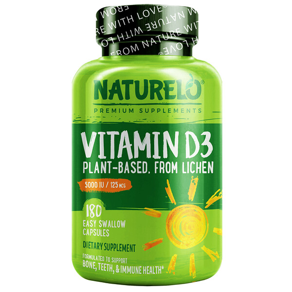 Vitamin D3, Plant Based, 125 mcg (5000 IU), 180 Easy Swallow Capsules
