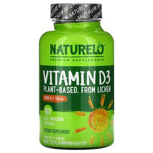 NATURELO, Vitamin D3, Plant Based, 5000 IU/125 mcg, 180 Easy Swallow Capsules отзывы покупателей