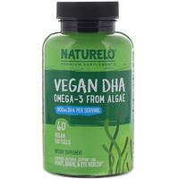NATURELO, Vegan DHA, Omega-3 from Algae, 800 mg, 60 Vegan Softgels