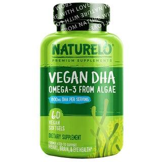 NATURELO, Vegan DHA, Omega-3 from Algae, 400 mg, 60 Vegan Softgels