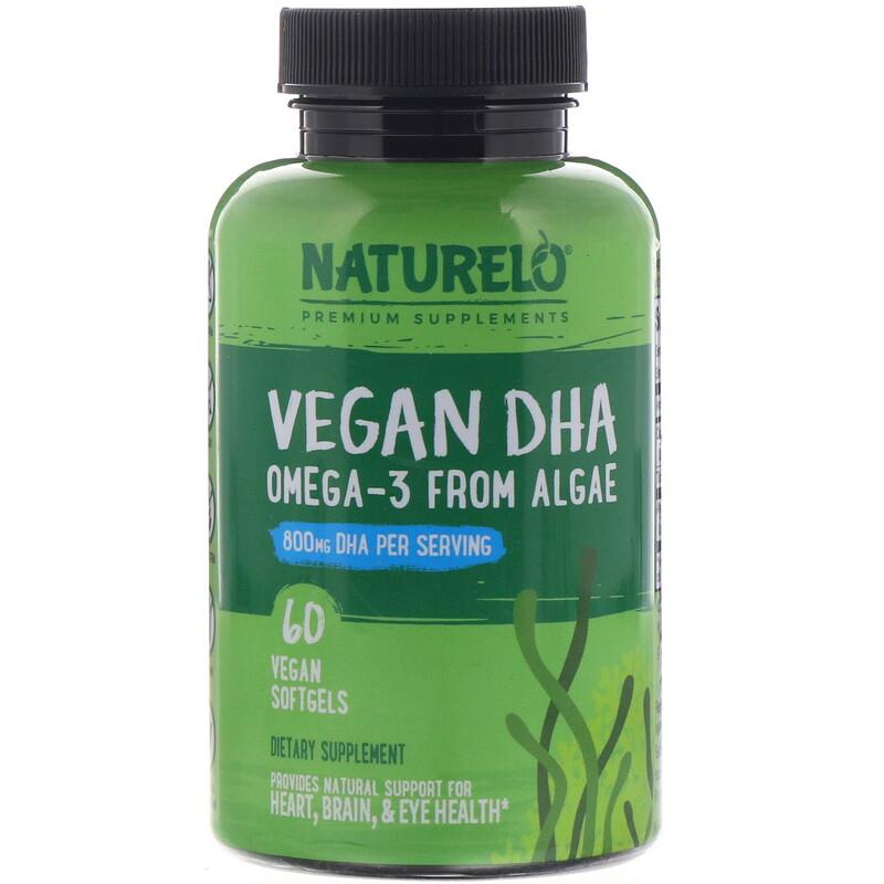 NATURELO, 素食 DHA,海藻中提取的 Omega-3,800 毫克,60 粒素食膠囊