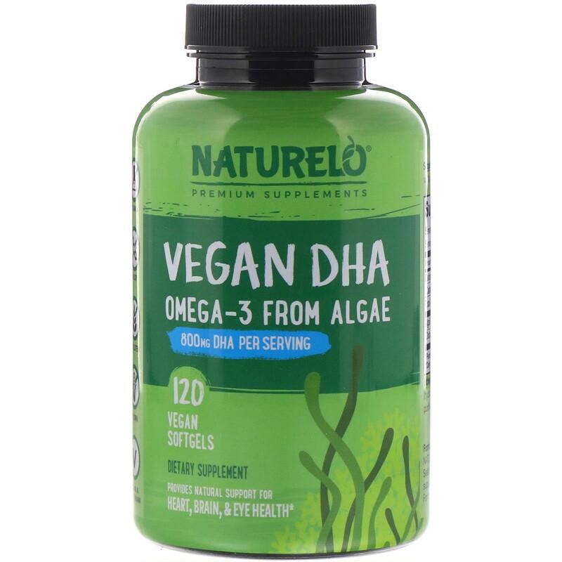NATURELO, 素食 DHA,海藻中提取的 Omega-3,800 毫克,120 粒素食膠囊