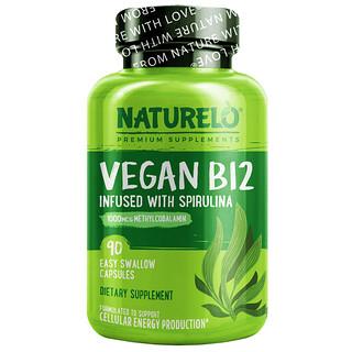 NATURELO, Vegan B12 Infused with Spirulina, 90 Easy Swallow Capsules