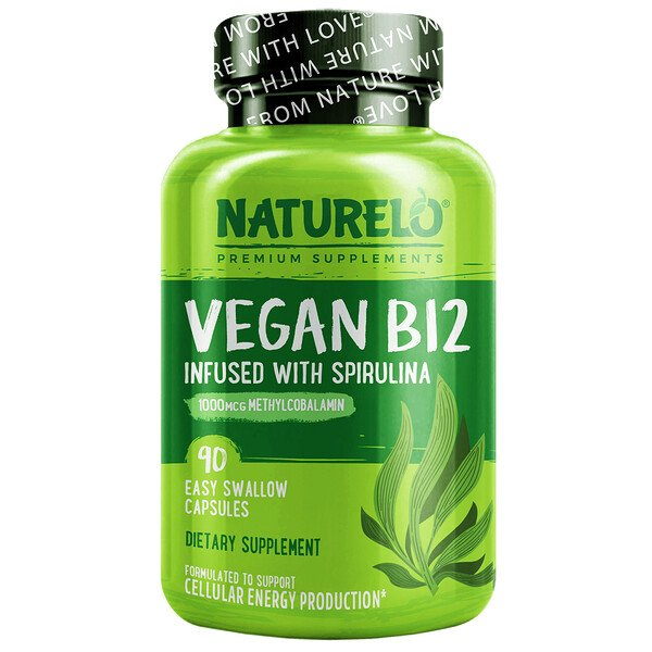 Vegan B12 Infused with Spirulina, 90 Easy Swallow Capsules