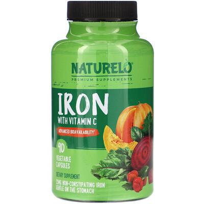 Купить NATURELO Iron with Vitamin C, 90 Vegetable Capsules