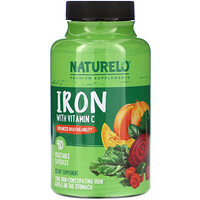 NATURELO, Iron with Vitamin C, 90 Vegetable Capsules