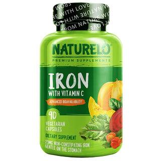 NATURELO, Iron with Vitamin C, 90 Vegetarian Capsules