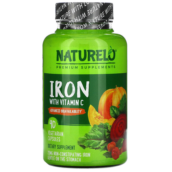 NATURELO, Iron with Vitamin C, 90 Vegetarian Capsules