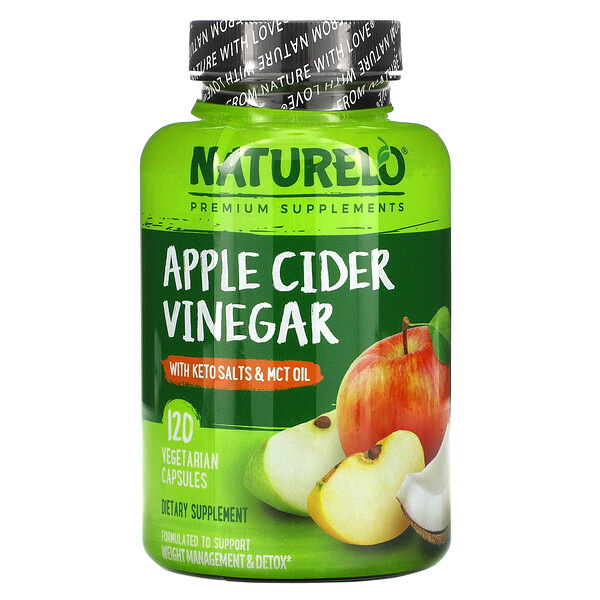 NATURELO, Apple Cider Vinegar with Keto Salts & MCT Oil, 120 Vegetarian Capsules