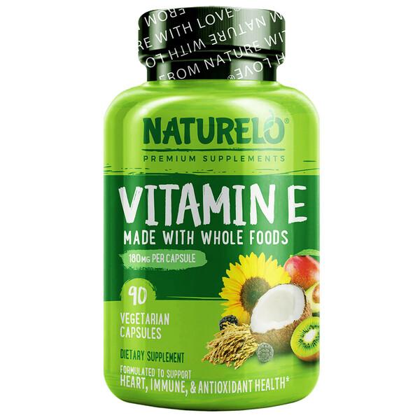 NATURELO, Vitamin E, Made with Whole Foods, 180 mg, 90 Vegetarian Capsules