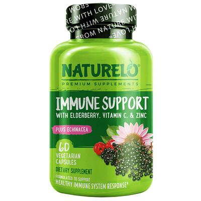 NATURELO Immune Support with Elderberry, Vitamin C & Zinc plus Echinacea, 60 Vegetarian Capsules