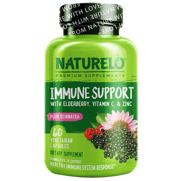 Immune Support with Elderberry, Vitamin C & Zinc plus Echinacea, 60 Vegetarian Capsules