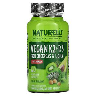 NATURELO, Vitamin K2 + D3, From Chickpeas & Lichen, 60 Vegetarian Capsules