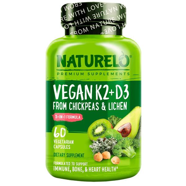 Vitamin K2 + D3, From Chickpeas & Lichen, 60 Vegetarian Capsules