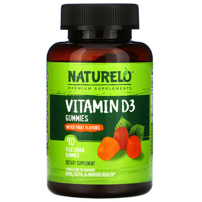 Купить NATURELO Vitamin D3 Gummies, Mixed Fruit Flavor, 90 Vegetarian Gummies