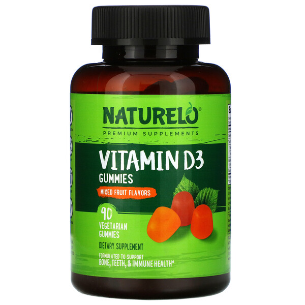 Vitamin D3 Gummies, Mixed Fruit Flavor, 90 Vegetarian Gummies