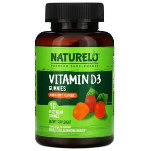 NATURELO, Vitamin D3 Gummies, Mixed Fruit, 90 Vegetarian Gummies
