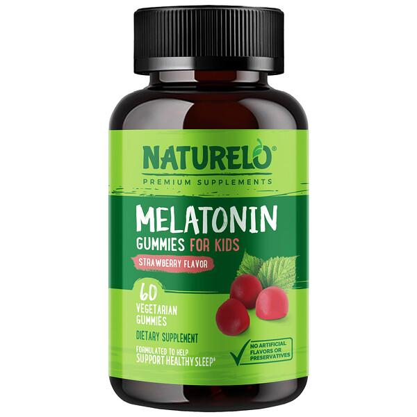 NATURELO, Melatonin Gummies For Kids, Strawberry Flavor, 60 Vegetarian Gummies