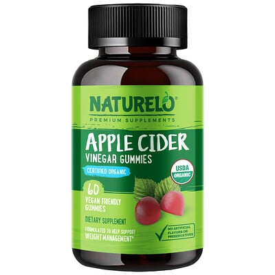NATURELO Apple Cider Vinegar Gummies, 60 Vegan Friendly Gummies