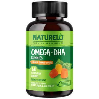NATURELO, Omega+DHA Gummies, Lemon & Orange, 60 Vegetarian Gummies