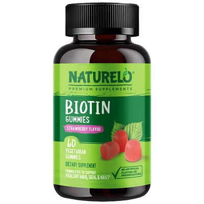 Купить NATURELO Biotin Gummies, Strawberry Flavor, 60 Vegetarian Gummies
