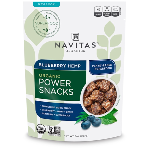 Power Snacks, Blueberry Hemp, 8 oz (227 g)