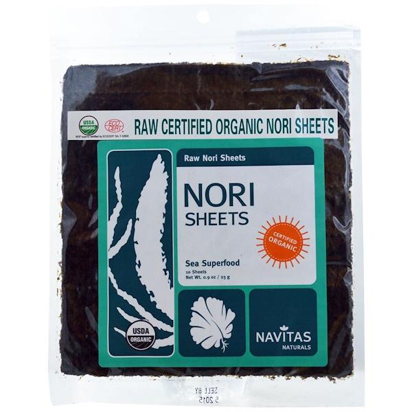 Navitas Organics, Raw Certified Organic Nori Sheets, 10 Sheets, 0.9 oz (25 g) (Discontinued Item)