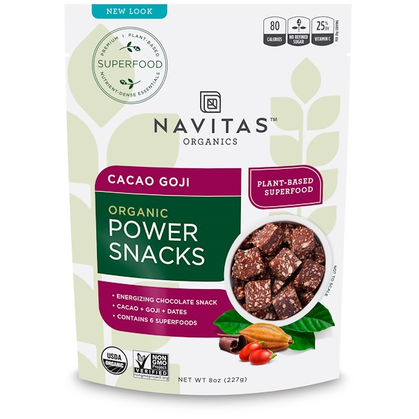 Navitas Organics, Organic Power Snacks, Cacao Goji, 8 oz (227 g)