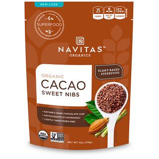 Navitas Organics, オーガニック スイートローチョコニブ カカオスイートニブ 4 oz (113 g)