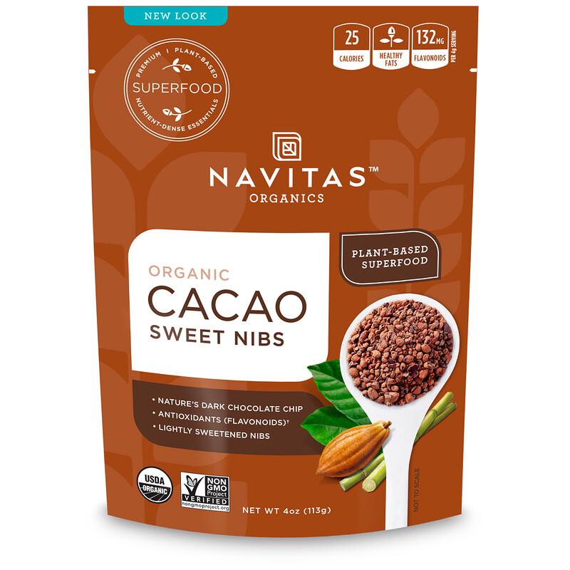 Organic Cacao Sweet Nibs, 4 oz (113 g)