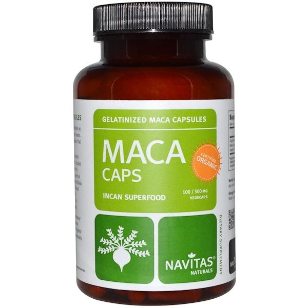 Navitas Organics, Maca Power, Капсулы с желеобразным экстрактом маки, 500 мг, 100 вегетарианских капсул (Discontinued Item)