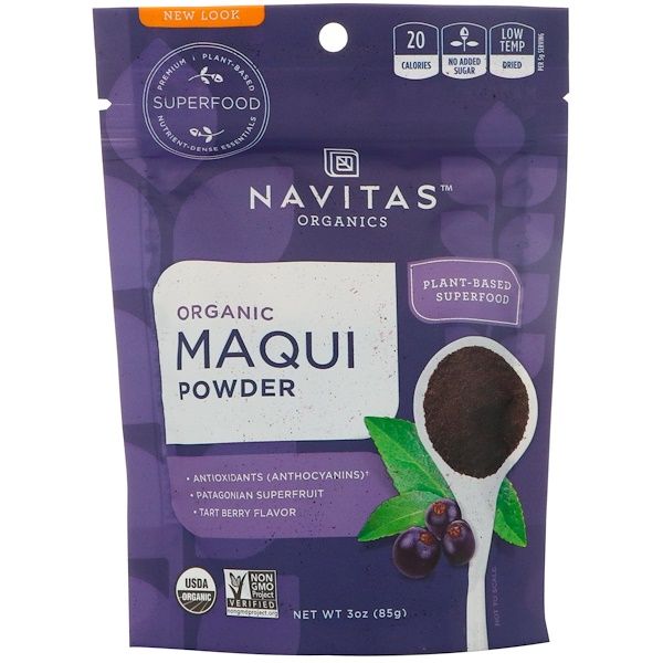 Navitas Organics, Organic Maqui Powder, Tart Berry, 3 oz (85 g)