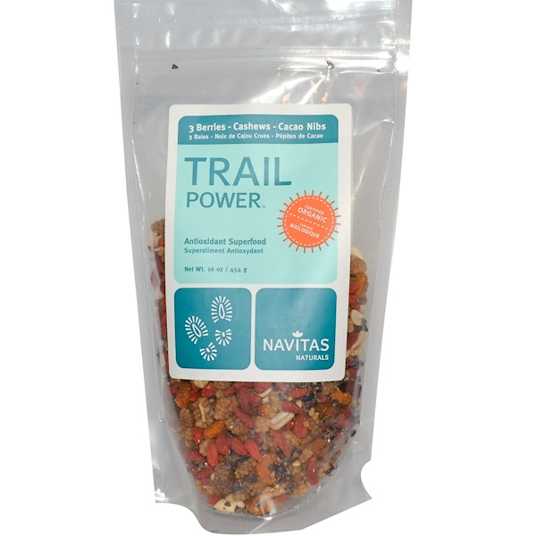Navitas Organics, Trail Power, Raw Antioxidant Trail Mix, 3 Berry, Cacao Nibs, Cashews, 16 oz (454 g) (Discontinued Item)