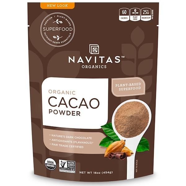 Navitas Organics, オーガニック・カカオパウダー、16オンス(454g)