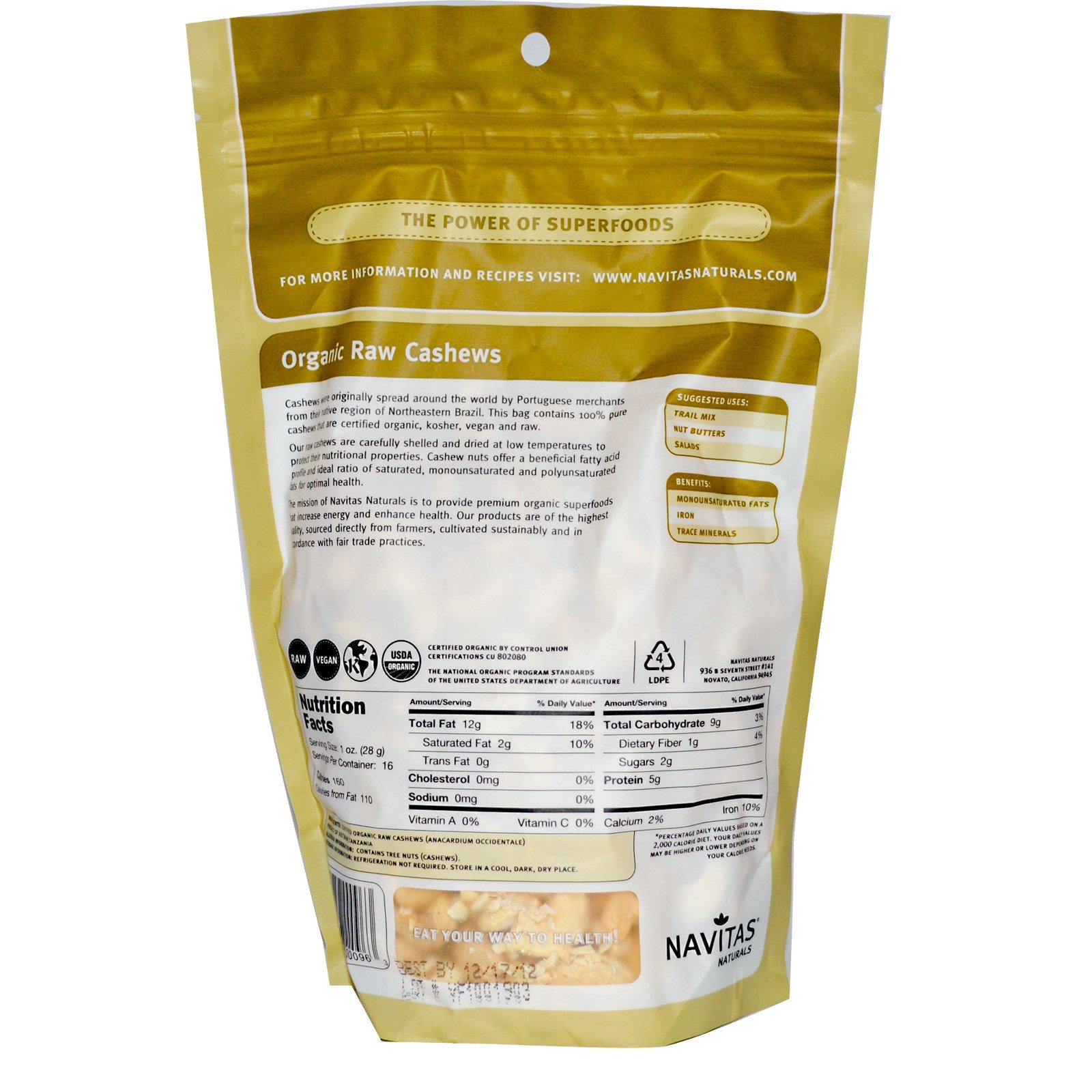 Navitas Naturals Certified Organic Raw Cashew Nuts  Oz