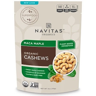 Navitas Organics, Organic Cashews, Maca Maple, 4 oz (113 g)