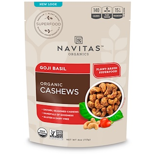 Navitas Organics, Organic Cashews, Goji Basil, 4 oz (113 g)