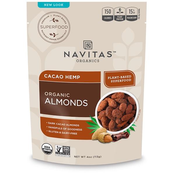 Navitas Organics, Organic Almonds, Cacao Hemp, 4 oz (113 g) (Discontinued Item)