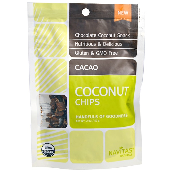 Navitas Organics, Organic Coconut Chips, Cacao, 2 oz (57 g) (Discontinued Item)