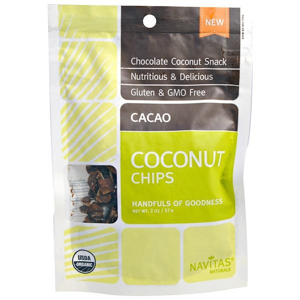 Navitas Organics, Organic Coconut Chips, Cacao, 2 oz (57 g) (Discontinued Item)