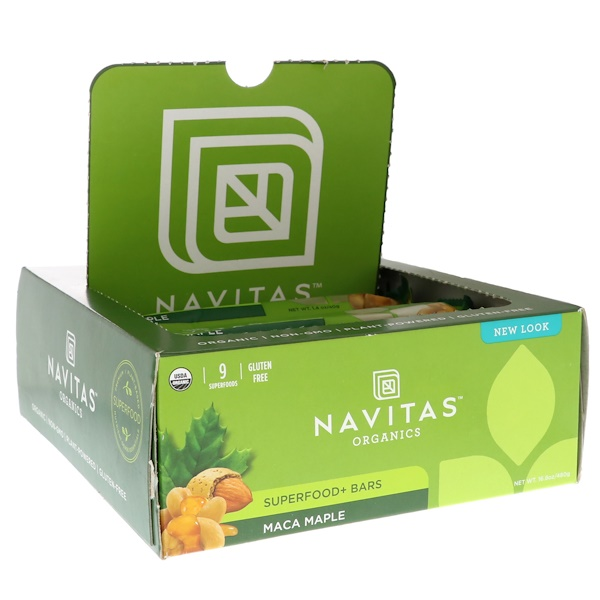 Navitas Organics, Superfood + Bars, Maca Maple, 12 Bars, 16.8 oz (480 g) (Discontinued Item)