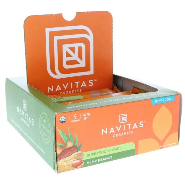 Navitas Organics, Superfood + Bars, Hemp Peanut, 12 Bars, 16.8 oz (480 g) Each (Discontinued Item)