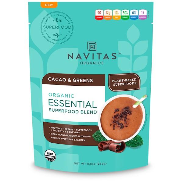 Navitas Organics, Organic Essential Superfood Blend, Cacao & Greens, 8.8 oz (252 g) (Discontinued Item)