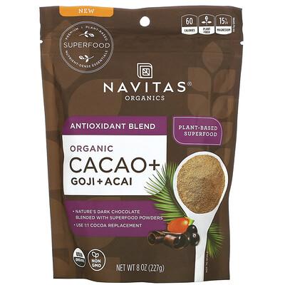 Купить Navitas Organics Antioxidant Blend, Organic Cacao + Goji + Acai, 8 oz (227 g)